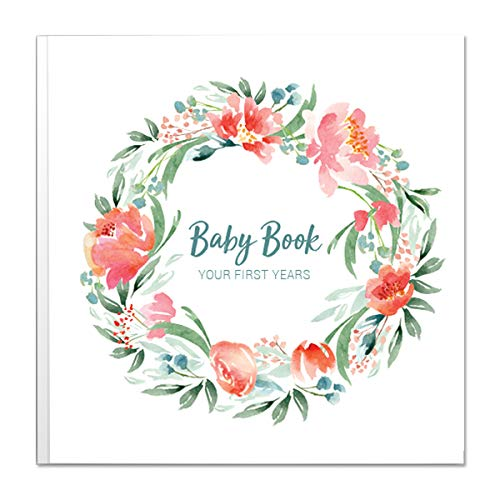 Baby Memory Book for Girls | Keepsake Milestone Journal | LGBTQ Friendly | 9.6 x 10 in. 50 Pages | Perfect Baby Shower Gift Peachly