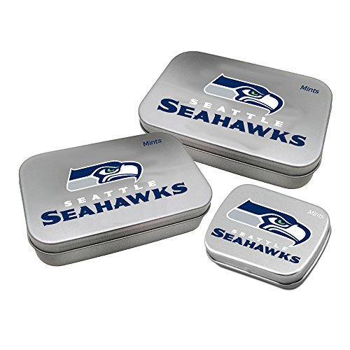 Worthy Promotional NFL Seattle Seahawks Decorative Mint Tin 3-Pack with Sugar-Free Mini Peppermint Candies