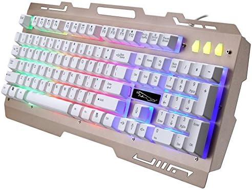Danankan LEDバックライト付きのゲーム用キーボード有線の作業用およびゲーム用のキーボード (Color : ホワイト)