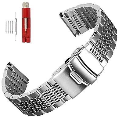 Solid Mesh Stainless Steel Bracelets 20mm/22mm/24mm Watch Bands Deployment Buckle Brushed/Polished Strap for Men Women