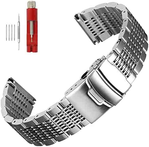 Solid Mesh Stainless Steel Bracelets 20mm/22mm/24mm Watch Bands Deployment Buckle Brushed/Polished Strap for Men Women