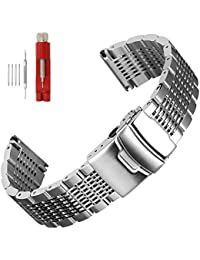 Solid Mesh Stainless Steel Bracelets 20mm/22mm/24mm Watch Bands Deployment Buckle Brushed/Polished Strap for Men Women (22mm, Silver)