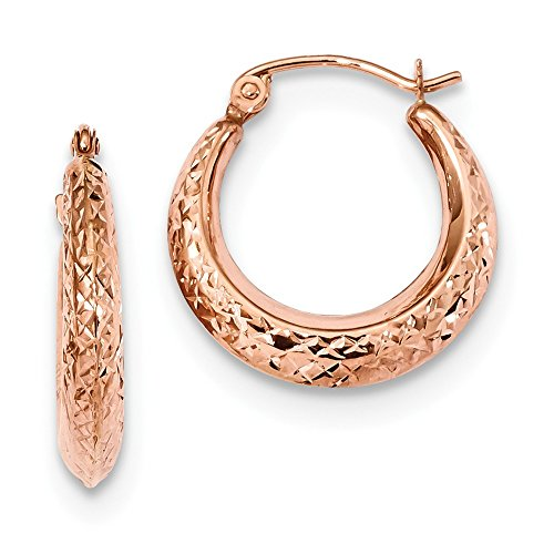 14k Rose Gold Textured Hoop Earrings Ear Hoops Set Fine Jewelry Gifts For Women For Her