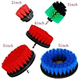 HIFROM (Pack of 5) 2in + 3in + 4in + 5in Scrub Brush Drill Attachment Kit - Drill Powered Cleaning Brush Attachments Kit for Bathroom Tub Shower Tile Grout Kitchen Cabinets Boats