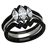FlameReflection Black Stainless Steel Women Wedding Ring Set 3 Stone Marquise Cubic Zirconia size 8 SPJ