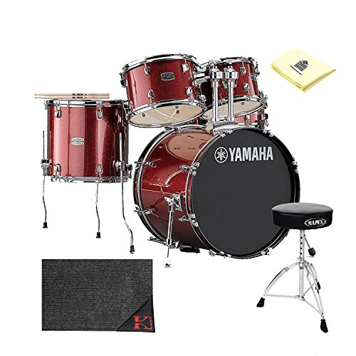 Yamaha Drum Thrones - Yamaha Rydeen Drum Kit with Zildjian Vic Firth American Classic 5A Drum Sticks, Tama HT130 Standard Double Braced Leg Throne, Kaces KCP45 - Kaces Econo Drum Rug and Polishing Cloth (Burgundy)