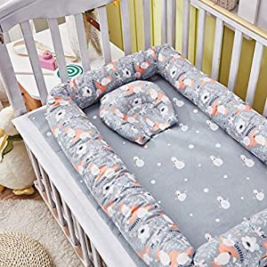 Abreeze Baby Bassinet for Bed, Fox Baby Lounger Bed Bassinet for Newborn Baby Portable Crib, Suitable for 0-24 Months
