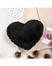 HAIHUA Fluffy Heart Pillow, Cotton Insert ,Super Soft Fuzzy Faux Fur Heart Pillow for ,Solid Color, and Sherpa Heart Pillow