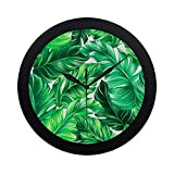 APJDFNKL Modern Simple Design Beautiful Tropical Leaves Wall Clock Indoor Non-Ticking Silent Quartz Quiet Sweep Movement Wall Clcok for Office,Bathroom,livingroom Decorative 9.65 Inch