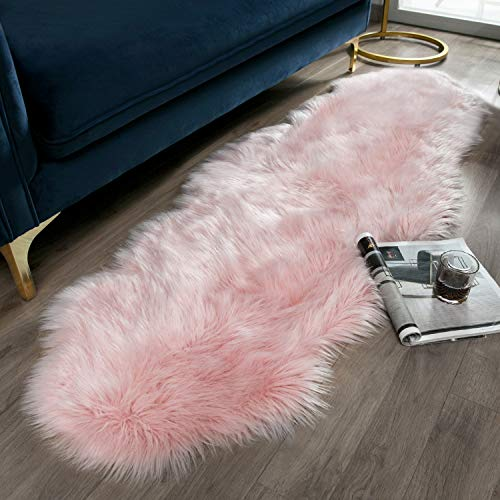 Ashler Soft Faux Sheepskin Fur Chair Couch Cover Pink Area Rug for Bedroom Floor Sofa Living Room 2 x 6 Feet