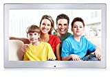 PROTIS 13.3' Digital Photo Frame with LED Screen/ 1080P HD IPS /SD Card & USB ports/ Silver Steel/4GB Build-in Memory/Random Play Photo