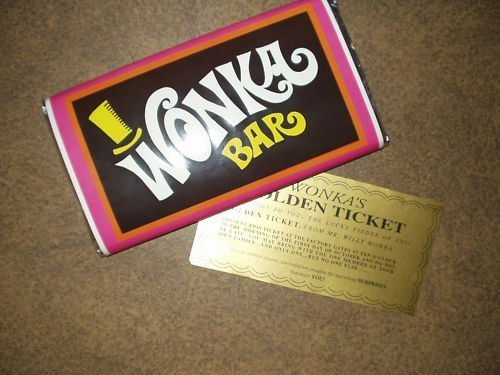 7 oz sized Willy Wonka Chocolate Bar wrapper with Golden Ticket replica-NO CHOCOLATE INCLUDED by Wonkamania