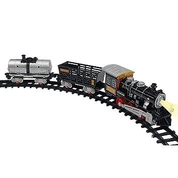 Trenes de riel retro eléctrico, juego de tren de navidad ...