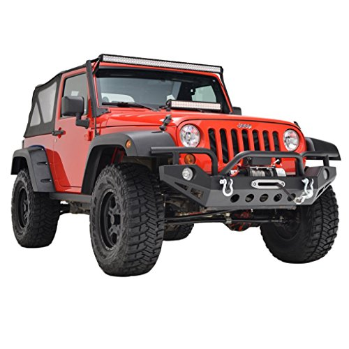 Restyling Factory Jeep Wrangler JK Black Full Width Front Bumper With OE Fog Lights Hole and Winch Plate JK