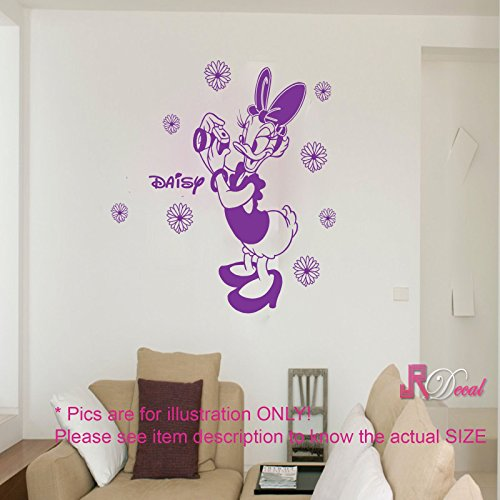 Disney daisy duck personalized girls name wall sticker wall art decal removable vinyl room decor d2