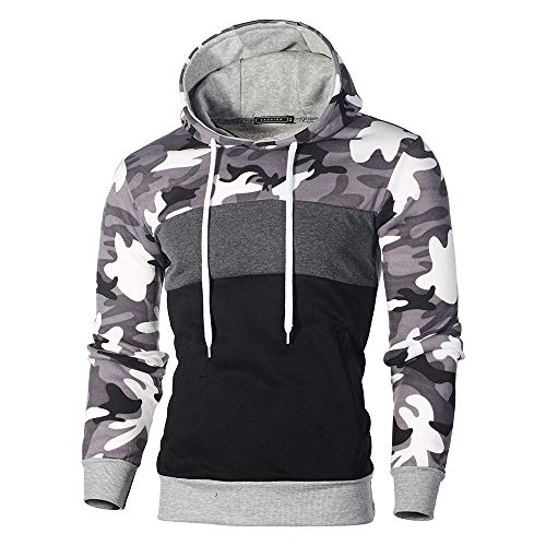 Clearance Mens Camo Hoodie Sweatshirt,Realdo Mens Cotton Blend Splice Camouflage Military Combat Hooded Pullover Tops