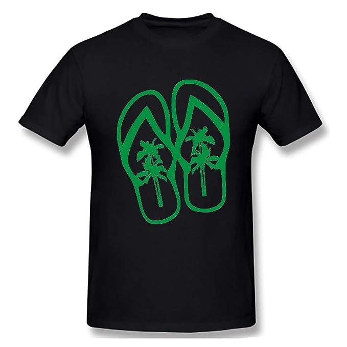 31cb3a85d742d4 YYcustom Men s Basic Short Sleeve T-Shirt Palm Tree Flip Flops Sandals Tee  Black