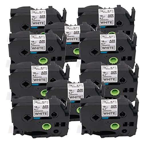 18mm Black on White TZe Tape Markurlife TZe241 TZ241 P-Touch Label Tapes Compatible for Brother PT-200 PT-D210 PTD400AD PT-H100 PTD600 PT-1010 PT-2030 Label Maker, 3/4 Inch x 26.2 ft (8m), 10 Pack 2310 Label