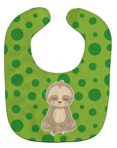 Caroline's Treasures Sloth Yoga Baby Bib, Green, Large
