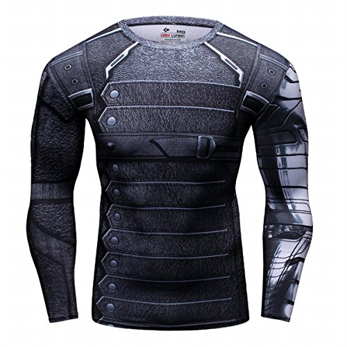 (Red Plume Men's Film Super-Hero Series Compression Sports Shirt Skin Running Long Sleeve Tee (L, Soldier))
