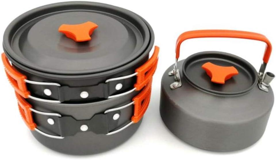 Utensilios de cocina de camping Juego de utensilios de cocina para acampar liviano Equipo de cocina para exteriores Kit de comedor para acampar Utensilios de cocina para calderos Calderas portátiles c