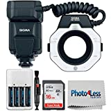 Sigma EM-140 DG Macro Ring Flash for Canon SLR Cameras + 16GB Memory Card + 4 AA Batteries & Charger + Lens Pen + Photo4Less Cleaning Cloth - Top Value Sigma Flash Bundle!
