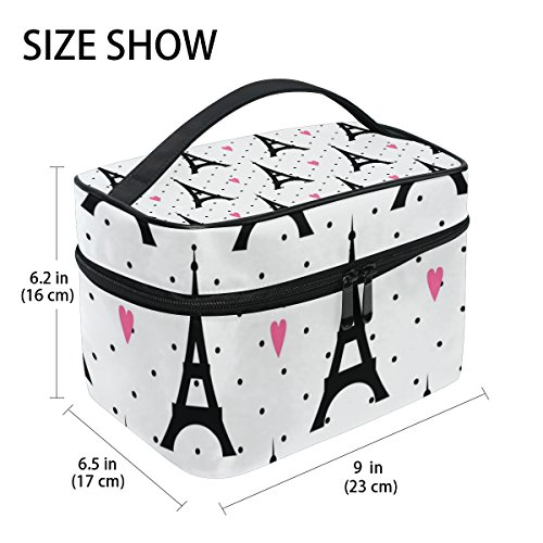 GIOVANIOR Paris Eiffel Tower Love Print Large Cosmetic Bag Travel Makeup Organizer Case Holder for Women Girls by GIOVANIOR (Image #1)
