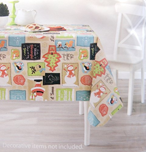Cute Christmas Holiday Animals Snowman Santa and Trees Vinyl Tablecloth, 52 X 70 In.