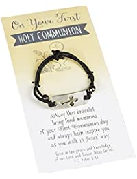 First Communion Black Stretch Bracelet with Cross