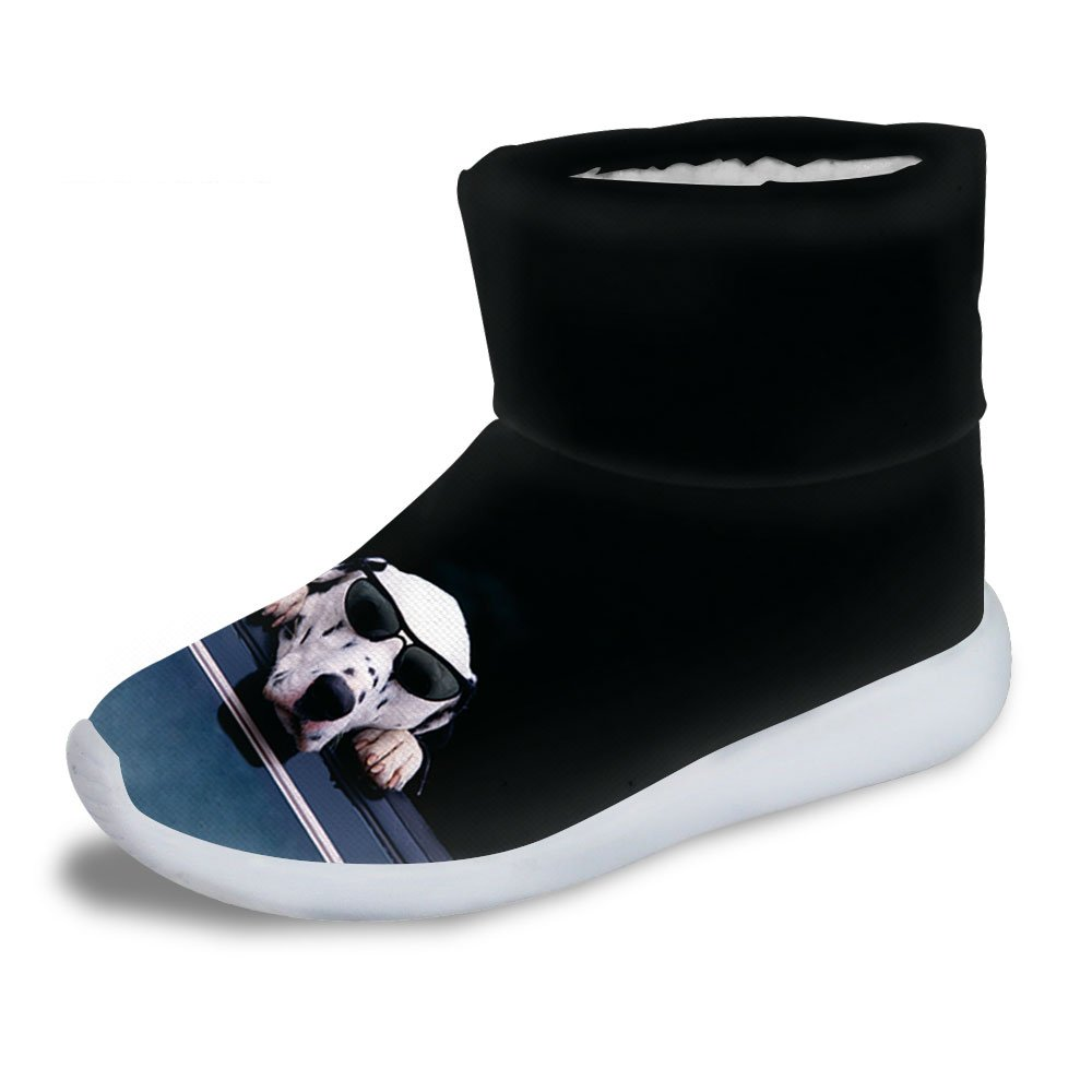FOR U DESIGNS Cool Sunglasses Dog Print Kids Cozy Short Ankle Snow Boots US 3