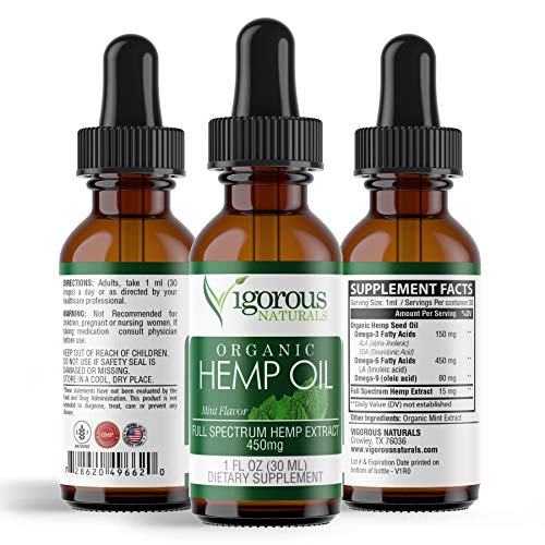 Vigorous Naturals Hemp Oil Drops- 450mg Full Spectrum for Pain Relief & Anti Anxiety Support- Natural Extract Seed Liquid Supplement- Helps Stress, Sleep, Inflammation, Mood- Organic Mint Flavor by Vigorous Naturals