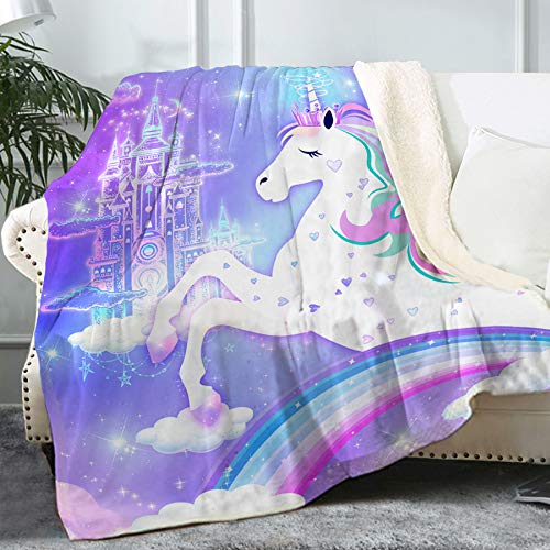 "Bonsai Tree Unicorn Blanket, Cute Rainbow Fuzzy Soft Cozy Warm Sherpa Throw Blanket for Kids Girls Women, Thick Magic Castle Purple Pink Crystal Velvet Blanket for Couch Bed Living Room, 50""x60"""