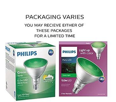 Philips 469098 90 Watt E26 PAR38 LED Flood Light Bulb , Dimmable , Energy Saving, Green, (4-Pack)