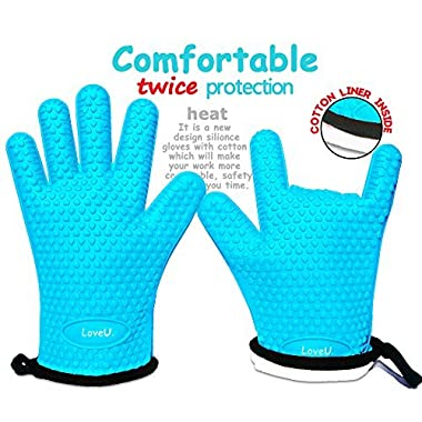 LoveU. Oven Mitts - Silicone and Cotton Double-layer Heat Resistant Gloves / Silicone Gloves / Oven Gloves / BBQ Gloves - Perfect for Baking and Grilling - 1 Pair (Blue)