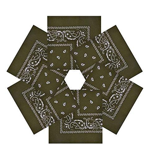 Alotpower Cotton Bandana Wreath Bandana for Home Decoration,6 Pack Army Green]()