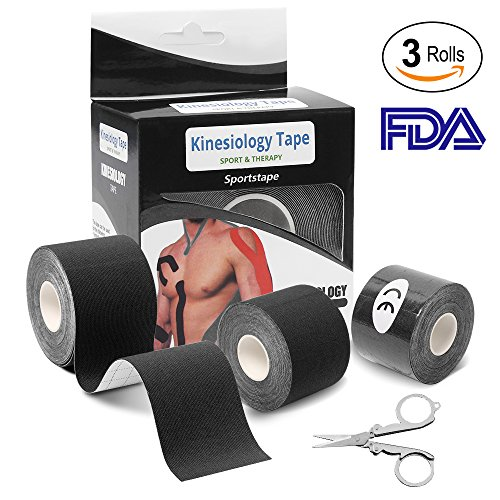 Kinesiology Tape (3 Rolls), Athletic Sports Tape Recovery Tape Elastic Therapeutic Sports Tape with Folding Scissor (2 inch x 16.4 Feet per roll) Black by AIRSOFTPEAK