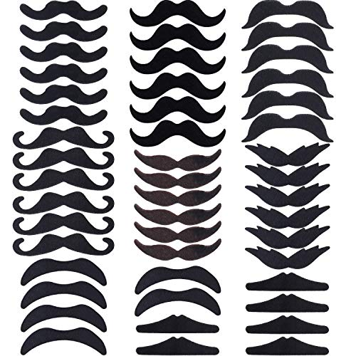 Hestya 48 Pieces Fake Mustaches, Self Adhesive Novelty Mustache Fiesta Party Supplies for Masquerade Party (8]()
