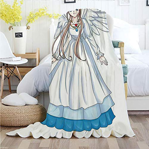 Ylljy00 Anime,Throw Blankets,Flannel Plush Velvety Super Soft Cozy Warm with/Cartoon Illustration of Cute Angel Wings and Flowers Fairytale Japanese Manga Print/Printed Pattern(70