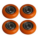 BQLZR Orange Spherical Arc Coated Guide Pulley Ball Roller Bearing Wheel for Door Window Pack of 4