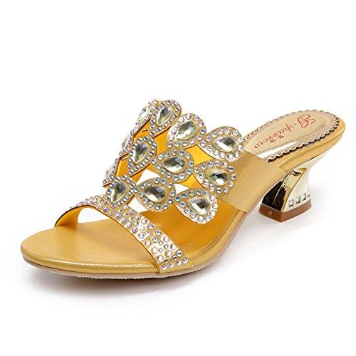 Taille Sandales Highxe Été Creuse Rugueux Grande Femmes Nouveau Romaine Hauts Strass Talons Eu42uk85 Diamant TlJcK13F