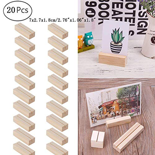 - Hacloser Natural Wood Place Card Holders Memo Clips Photo Holder Clamps Stand Desktop Card Crafts Wedding Home Birthday Party Decorations (20, M:7 x 2.7 x 1.8cm/2.76
