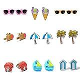 Oaonnea Cute Enamal Stud Earrings Set Hell Coconut Umbrella Sailing Earrings Trending Jewelry(9 Style)