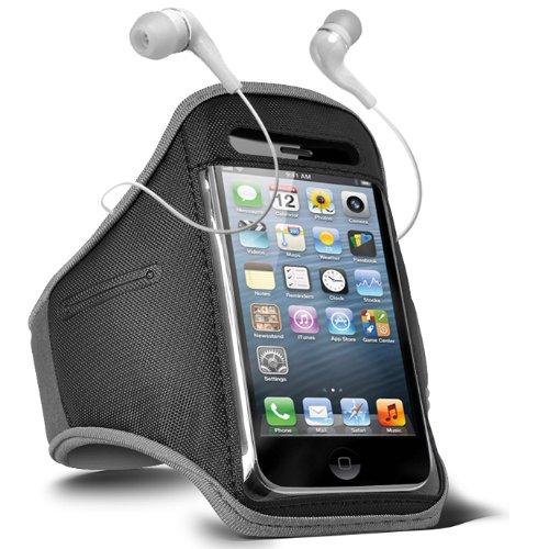 Fone-Case Blackberry Bold Touch 9900 Adjustable Sports Fitness Jogging Arm Band Case & 3.5mm In Ear Earbud Base Earphones (Grey)