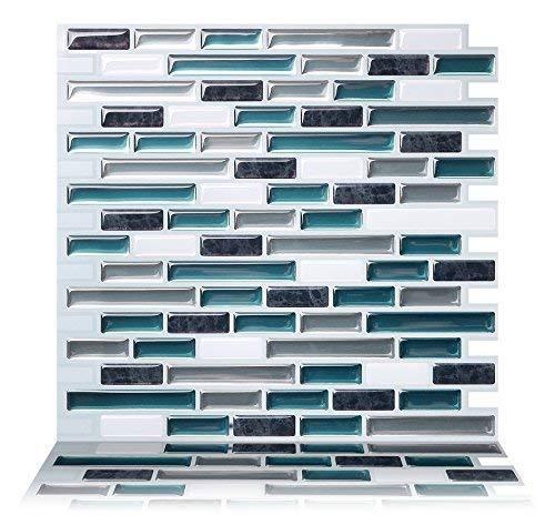 Tic Tac Tiles - Premium Anti-Mold Peel and Stick Wall Tiles (10 Tiles, Como Bay)