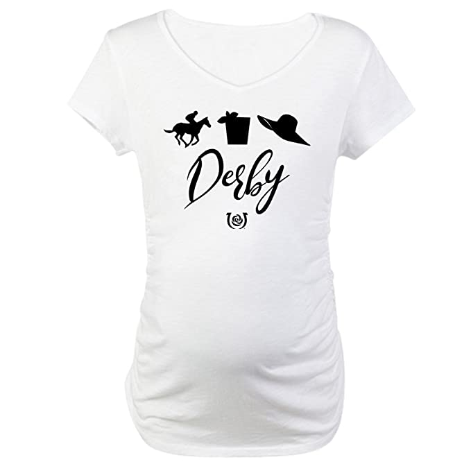 d2217e3ec5 CafePress Kentucky Derby Icons Cotton Maternity T-Shirt, Cute & Funny  Pregnancy Tee White