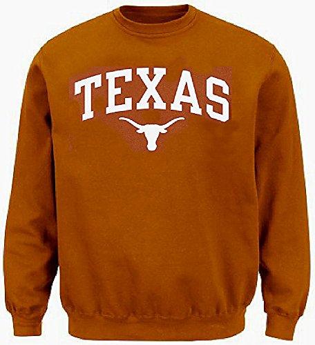 289c apparel Texas Longhorns Mens UT Orange Arch Screened Crew Sweatshirt (Medium)
