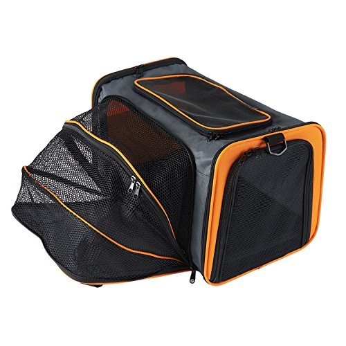 Pettom Expandable Foldable Pet Carrier Big Space Travel Handbag Soft-sided Bags for Dogs Cats and Other Animals(M, Orange) by Pettom (Image #7)