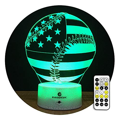 easuntec Kids Night Light Baseball Night Light 7 Colors Change with Timer Remote for Children (USA Flag ()