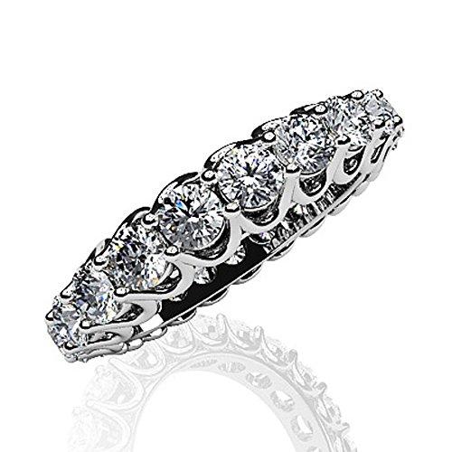 Or blanc 14K Unique partagé Attaches Diamant Bague éternité