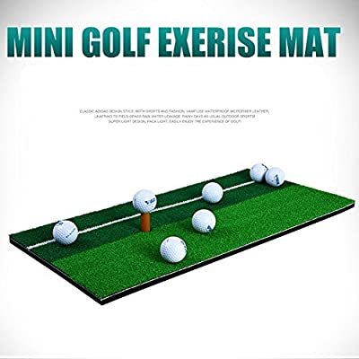 "11.81""X23.62"" Golf Hitting Mats Swing Mat Double Color Grass Mini Pad with Rubber Tee Holder"